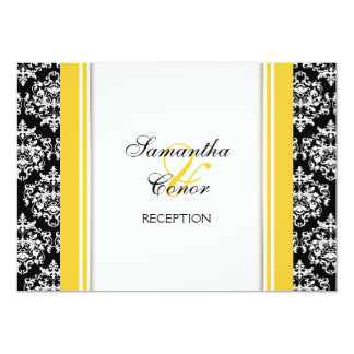 Noivado amarelo branco preto do casamento tema convite 12.7 x 17.78cm