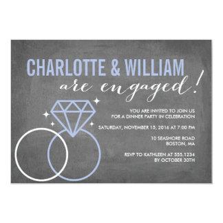 Noivado do noivado | do quadro do diamante convite 12.7 x 17.78cm