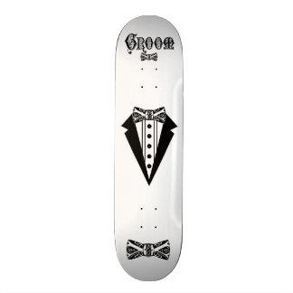 Noivo com laço e Tux e tipo preto Shape De Skate 18,1cm