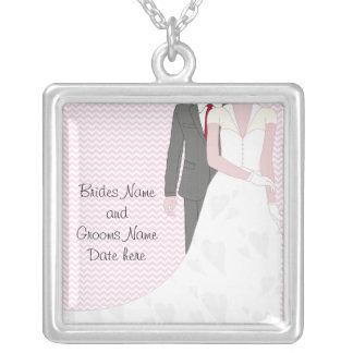 Noivos cor-de-rosa do casamento do vintage colar banhado a prata