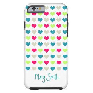Nome bonito do costume dos corações dos doces capa para iPhone 6 tough