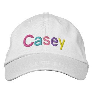 Nome bordado colorido de Casey no chapéu Boné Bordado