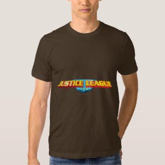 Nome da liga de justiça e logotipo finos do t-shirt