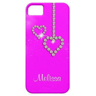 Nome das meninas do coração do rosa quente capa barely there para iPhone 5