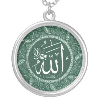 Nome de Allah no árabe Colar Banhado A Prata