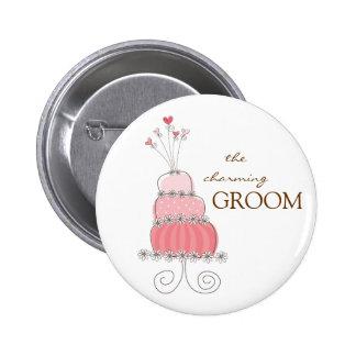 Nome de etiqueta do bolo de casamento/botão bóton redondo 5.08cm