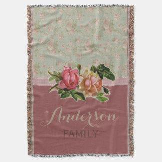 Nome de família cor-de-rosa floral do vintage manta