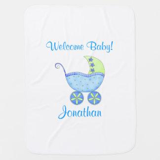 Nome do bebê da boa vinda do carrinho de bebê azul mantas para bebe