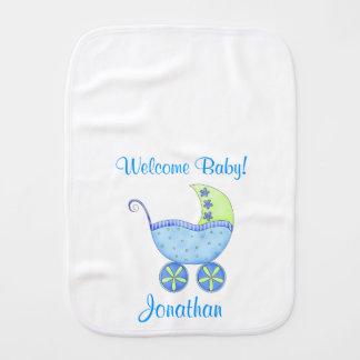 Nome do bebê da boa vinda do carrinho de bebê azul paninhos de boca