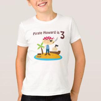 Nome do costume do menino do aniversário do pirata camiseta