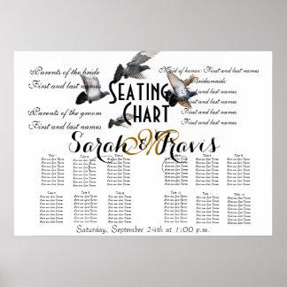 Nome do monograma da pomba dos pássaros da carta d posteres