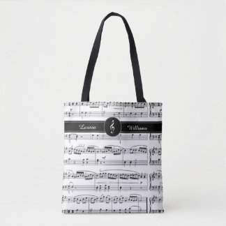 nome em notas musicais preto e branco bolsa tote