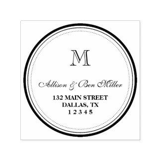 Nome & endereço elegantes do monograma do círculo carimbo auto entintado