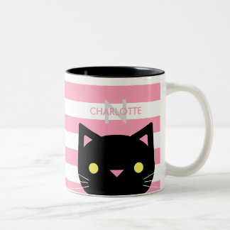 Nome feito sob encomenda bonito & inicial do gato caneca de café em dois tons