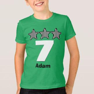 Nome grande do costume do número de 7 estrelas do camisetas