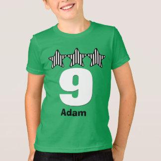 Nome grande do costume do número de 9 estrelas do t-shirts