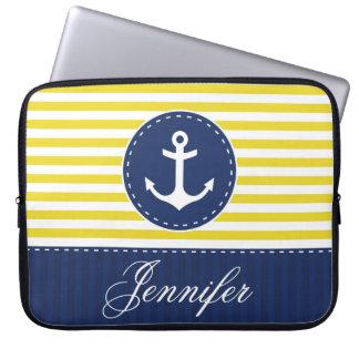 Nome náutico do costume da âncora do marinho capas de notebook