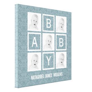 Nome personalizado e fotos do bebê impressão em tela
