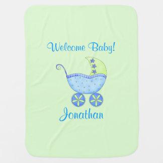 Nome verde do bebê da boa vinda do carrinho de cobertor de bebe