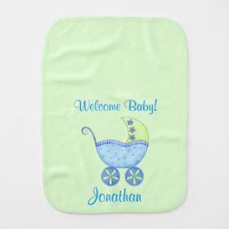 Nome verde do bebê da boa vinda do carrinho de paninhos de boca