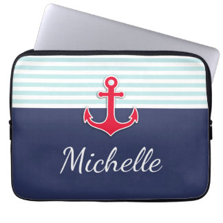 Nome vermelho azul escuro náutico do costume do capas de notebook