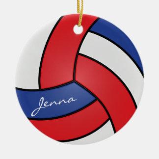 Nome vermelho, branco e azul do voleibol | DIY Ornamento De Cerâmica