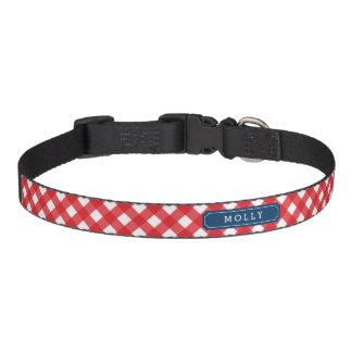 Nome vermelho do costume do guingão do piquenique correia para cães