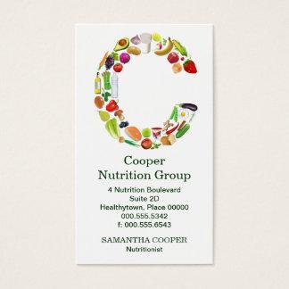 Nomeação do monograma C do nutricionista Cartão De Visitas