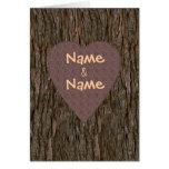 Nomes cinzelados no cartão da árvore - Brown