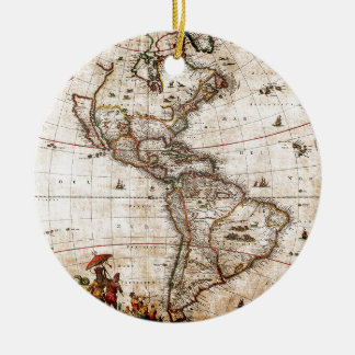 Norte antigo velho & mapa de Ámérica do Sul Ornamento De Cerâmica