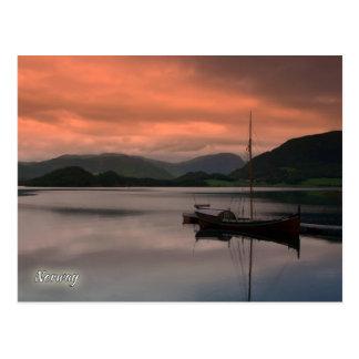Noruega, por do sol em Otnes Cartão Postal