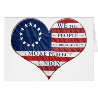 Nós as pessoas do coração da bandeira americana cartoes