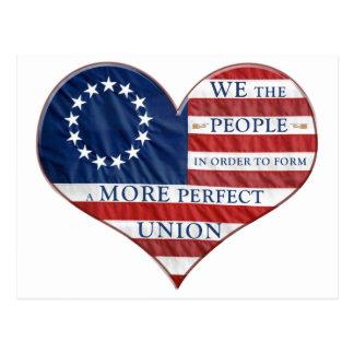 Nós as pessoas do coração da bandeira americana cartoes postais