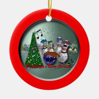 Nós desejamos-lhe o Feliz Natal Ornamento De Cerâmica Redondo