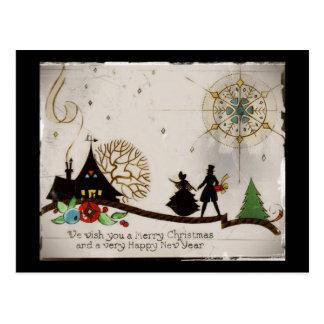 Nós desejamos-lhe uma silhueta do Feliz Natal Cartão Postal