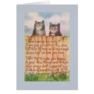 Nós estamos esperando para uma visita de você este cartão comemorativo
