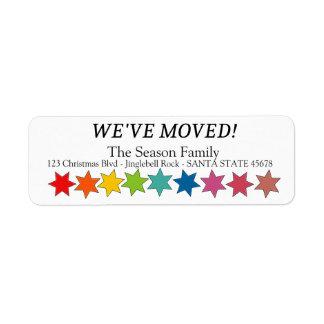 Nós movemos a etiqueta do feriado das estrelas do