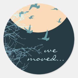 nós movemos o anúncio: silhouscreen pássaros adesivo