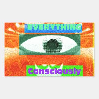 Nós somos condicionados por tudo, consciente 2 adesivo retangular