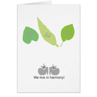 Nós vivemos na harmonia cartão comemorativo