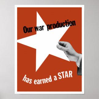 Nossa produção da guerra ganhou uma estrela pôster