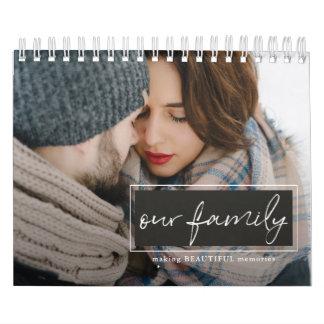 Nosso calendário da foto do roteiro da família