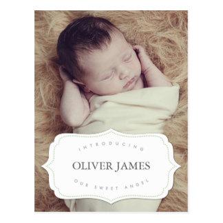 Nosso cartão doce do anúncio do nascimento do bebê cartoes postais