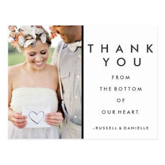 Nosso obrigado do casamento do coração você cartão cartao postal
