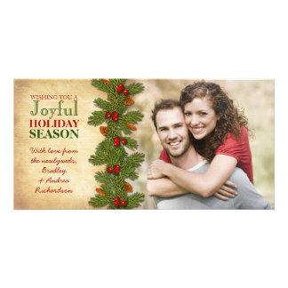 Nosso primeiro do Natal feriado dos ramo junto Cartão Com Foto
