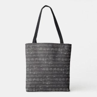 nota da música da sacola do tema da música bolsa tote