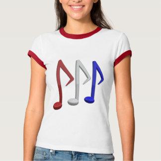 Notas brancas e azuis vermelhas da música camisetas