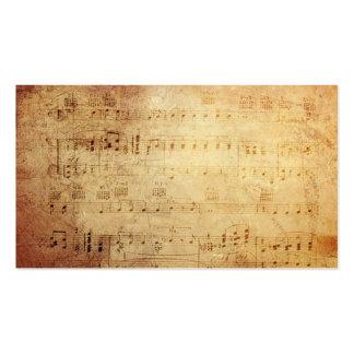 Notas clássicas antigas da música cartão de visita