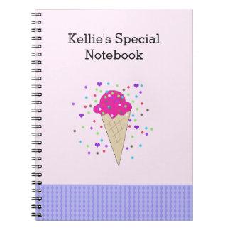 Notas cor-de-rosa do sorvete dos confetes cadernos espiral