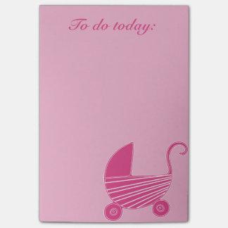 Notas de post-it cor-de-rosa do chá da carruagem sticky note